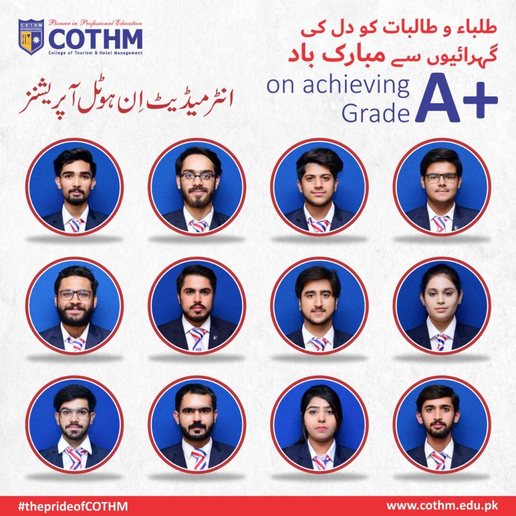 COTHM makes historyAbove 500 hospitality & Culinary students get A & A+ grades in intermediate exams